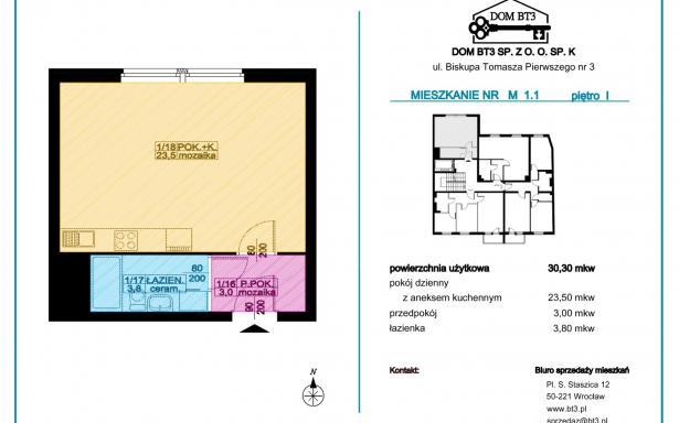 Kawalerka 30,30 m² Wrocław Nadodrze, Biskupa Tomasza Pierwszego 3 5341839